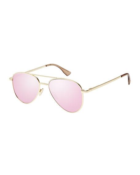 Imperium Mirrored Aviator Sunglasses, Pink/Gold