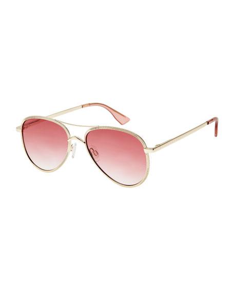 Le Specs Luxe Empire Laser-Cut Aviator Sunglasses, Rose/Gold