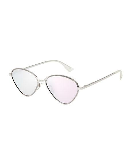 Le Specs Luxe Bazaar Laser-Cut Geometric Sunglasses, Platinum