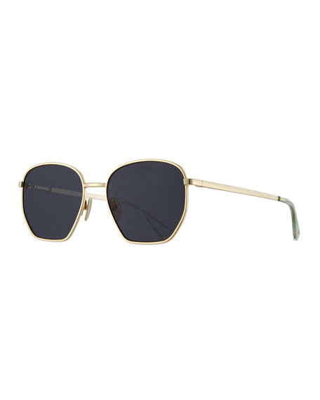 Le Specs Luxe Ottoman Geometric Sunglasses, Black Nickel