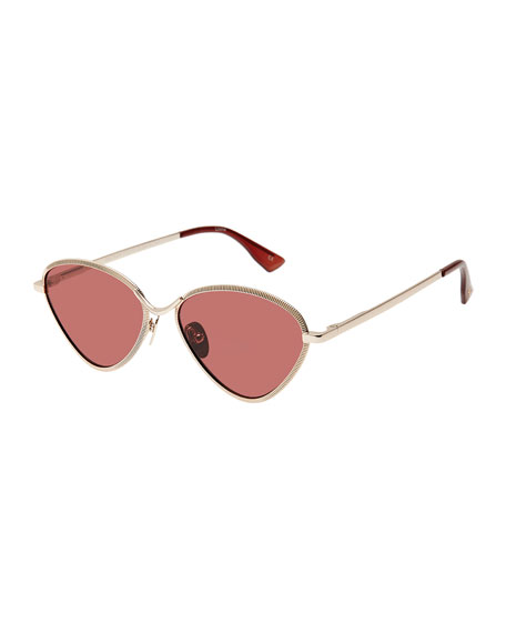 Bazaar Laser-Cut Geometric Sunglasses, Rose/Gold