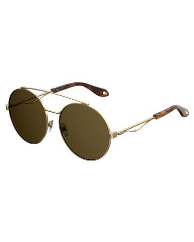 Round Metal Aviator Sunglasses