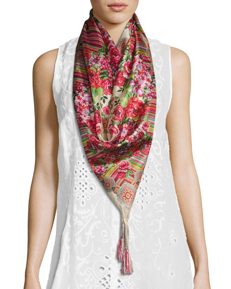 Johnny Was Rose Lace Printed Silk Scarf