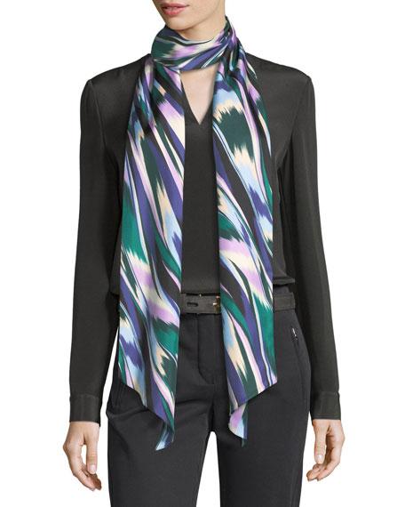 Silk Satin Skinny Maxi Tie Scarf