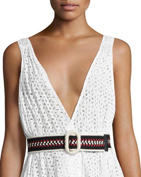 Oscar de la Renta Embroidered O-Ring Belt, Black/Cream/Red