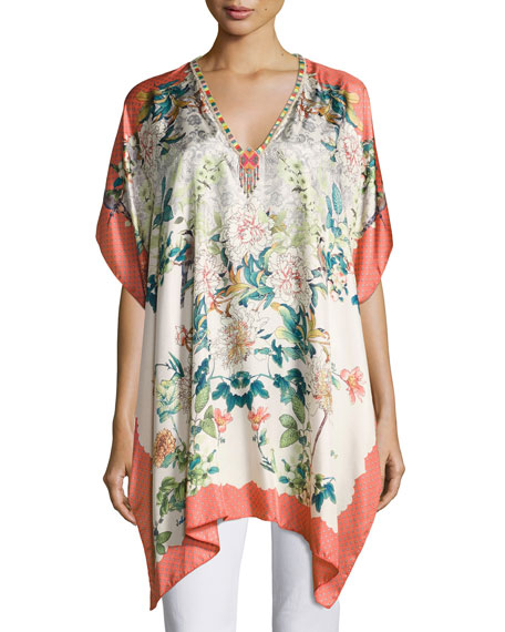 Johnny Was Emma Silk Printed Poncho, Plus Size