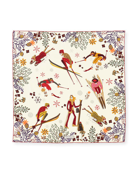 Image 2 of 2: Oslo Ladies Skiing Silk Scarf