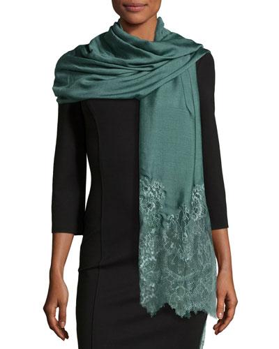 Woven Lace-Trim Shawl, Jade