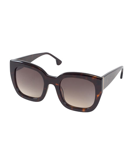 Alice + Olivia Aberdeen Square Sunglasses, Brown Tortoise