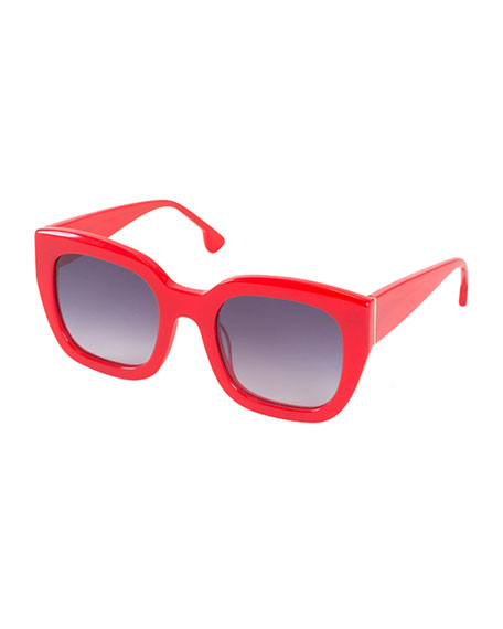 Alice + Olivia Aberdeen Square Sunglasses, Red