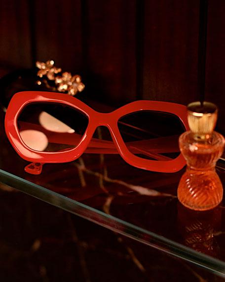 Dinah Chunky Geometric Sunglasses, Red