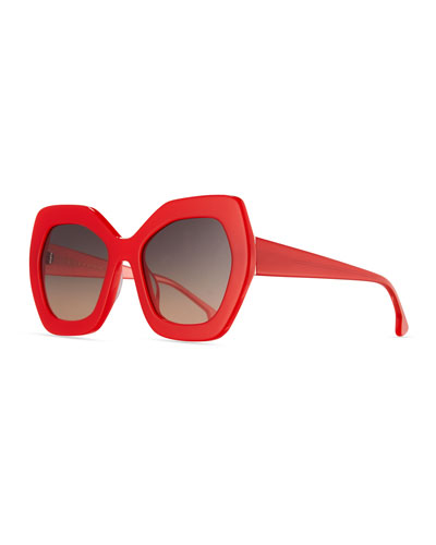 Dinah Chunky Geometric Sunglasses, Red