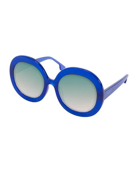 Alice + Olivia Melrose Round Sunglasses, Blue