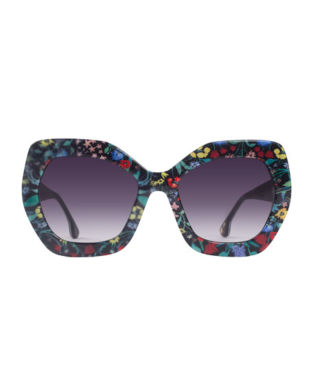Dinah Chunky Geometric Floral Sunglasses, Multicolor
