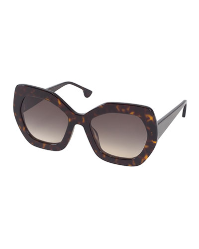 Dinah Chunky Geometric Sunglasses, Brown Tortoise