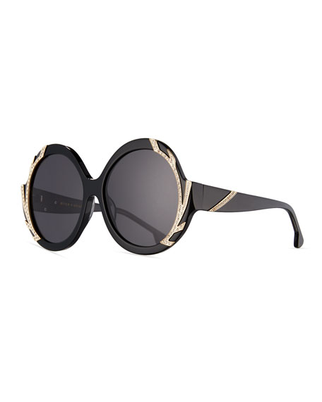 Alice + Olivia Stacey Notched Round Swarovski® Sunglasses,