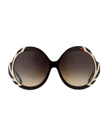 Stacey Notched Round Swarovski® Sunglasses, Brown Tortoise