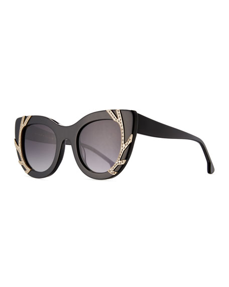 Alice + Olivia Delancey Cat-Eye Swarovski® Sunglasses, Black