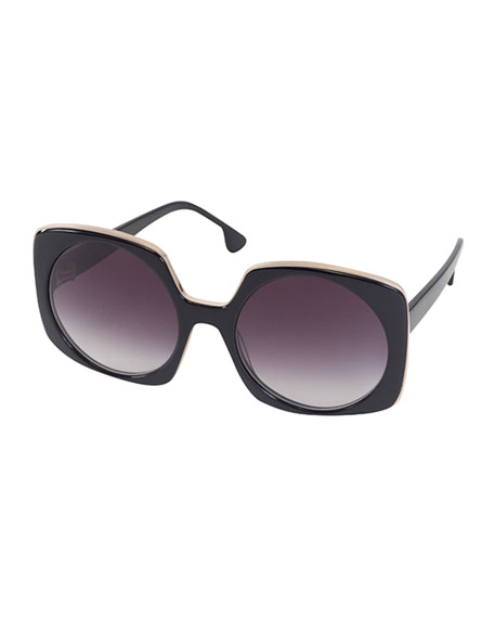 Alice + Olivia Canton Square Sunglasses, Black