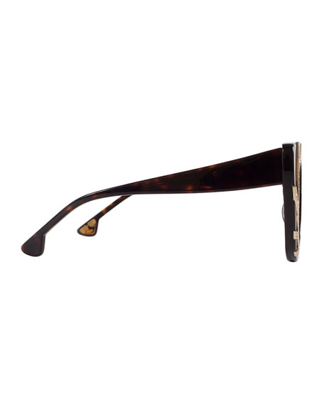 Delancey Cat-Eye Swarovski® Sunglasses, Brown Tortoise