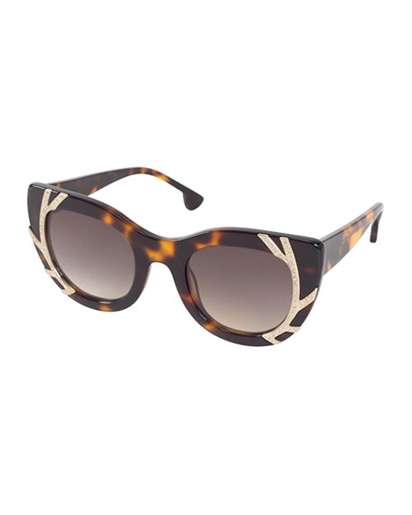 Alice + Olivia Delancey Cat-Eye Swarovski® Sunglasses, Brown