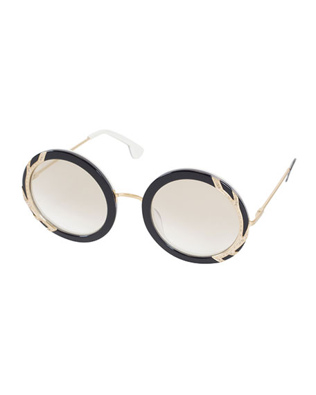Alice + Olivia Beverly Round Swarovski?? Sunglasses, Black/White