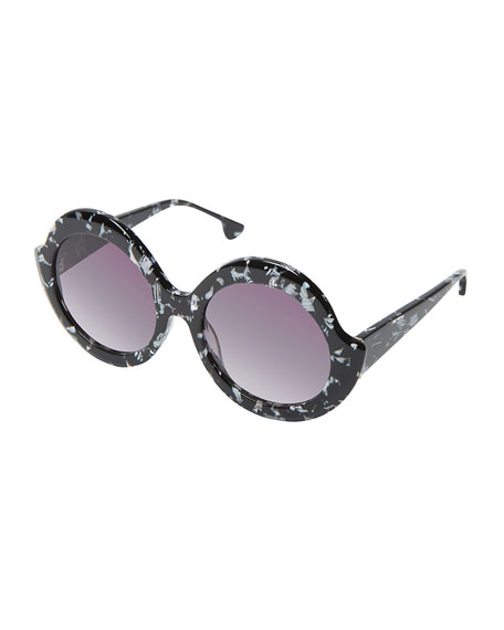 Alice + Olivia Stacey Notched Round Sunglasses, Black/White