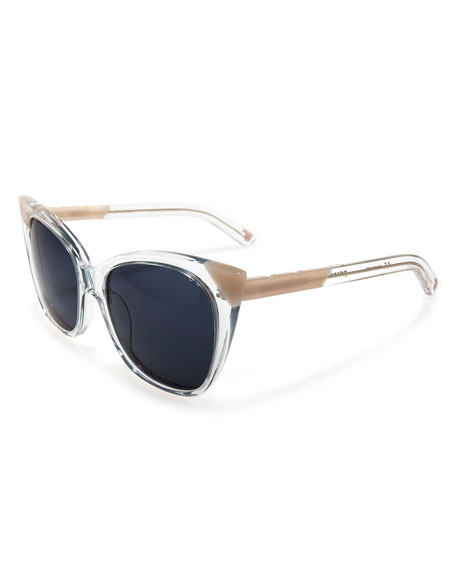 Cat and Mouse Cat-Eye Sunglasses, Pink/Clear