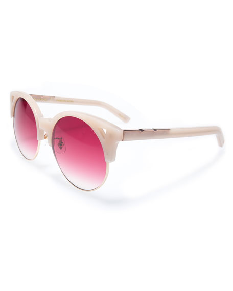 Up and At Em Semi-Rimless Round Sunglasses, Pink/Red