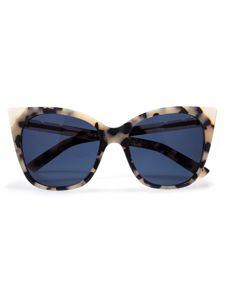Cat and Mouse Cat-Eye Sunglasses, White Tortoise