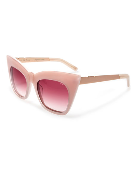 Kohl and Kaftans Cat-Eye Sunglasses, Pink/Rose Gold