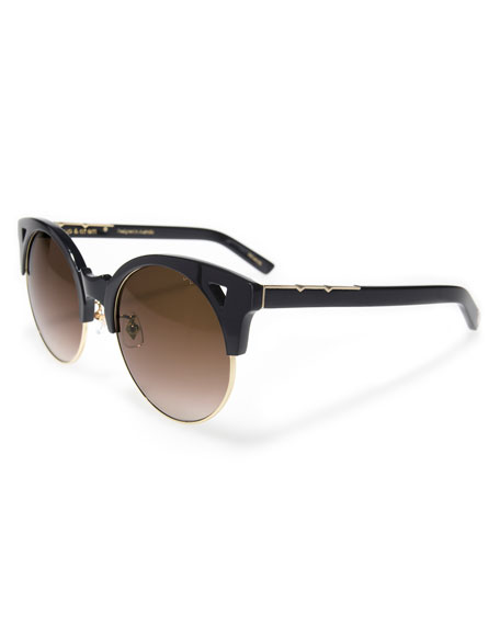 Up and At Em Semi-Rimless Round Sunglasses, Black/Gold