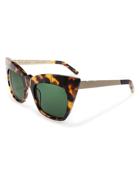 Pared Eyewear Kohl and Kaftans Cat-Eye Sunglasses, Tortoise/Gold