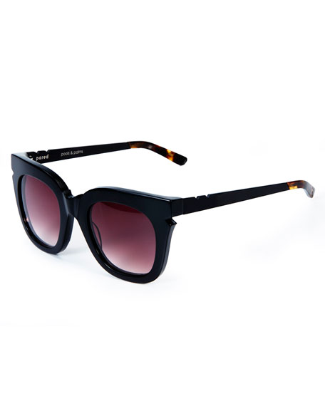 Pools and Palms Notched Square Sunglasses, Black