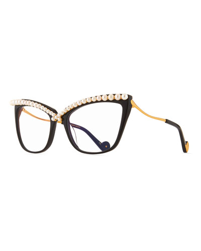 Lusciousness Divine Pearl Cat-Eye Optical Frames, Black