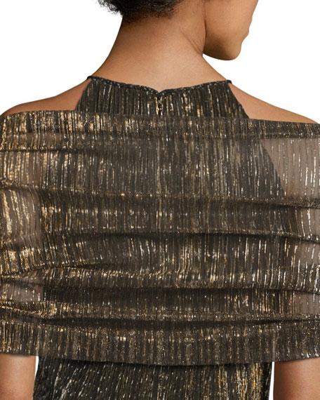 Metallic Plissé Wrap, Black/Gold