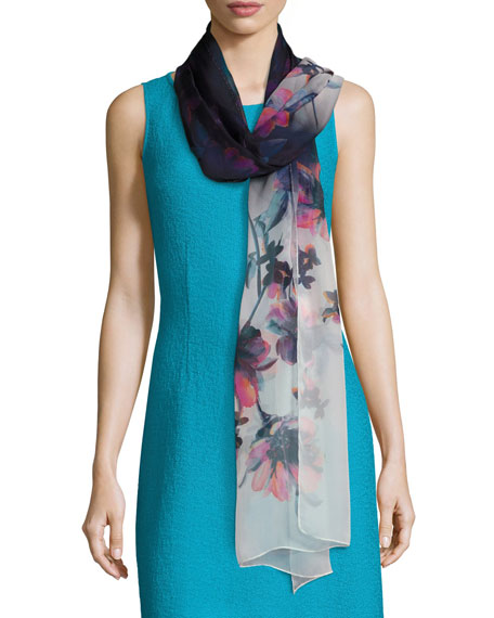 Ombre Naveena Floral Print Silk Scarf, Multi