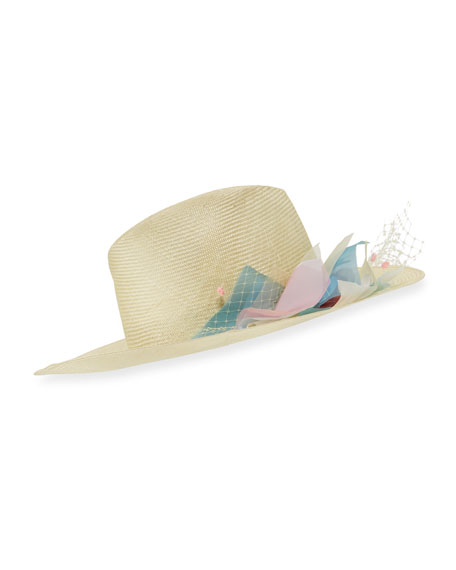 Inverni Florence Silk Flower Wide-Brim Fedora Hat, Yellow