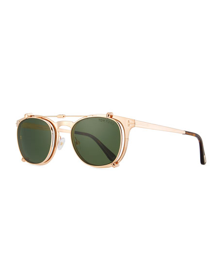 TOM FORD Special Edition Rose Gold-Plated Clip-on Sunglasses