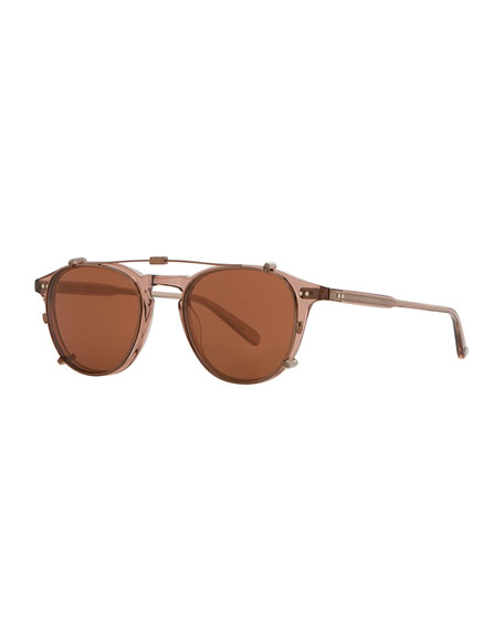 Garrett Leight Hampton Square Acetate Sunglasses, Red/Brown