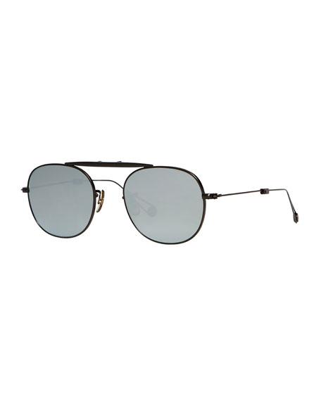 Garrett Leight Van Buren Foldable Metal Sunglasses, Black