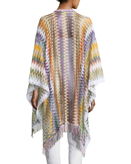 Zigzag Open-Front Cape, Purple/Multicolor