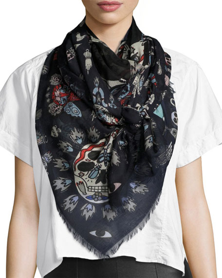 Underwater Square Voile Scarf, Blue/White