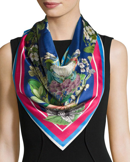 Florence Floral Double-Face Silk Scarf, Blue