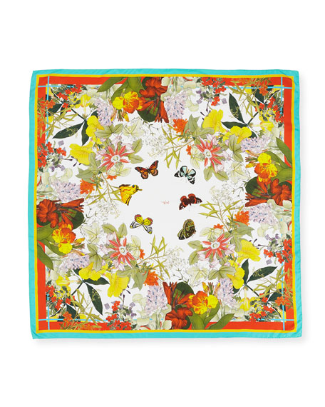 Florestine Large Floral Silk Twill Scarf, White