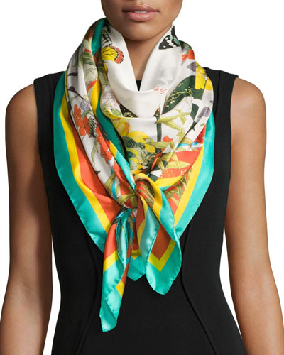 Florestine Large Floral Silk Twill Scarf, White