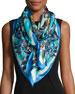Francesca Floral Silk Twill Scarf, Blue