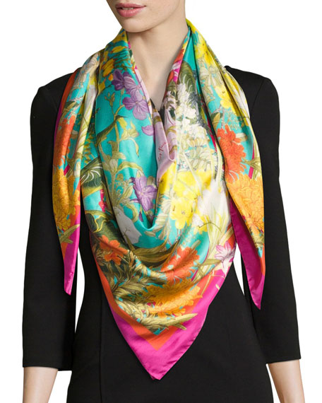 ST. PIECE FAYE LARGE SILK TWILL SCARF, GREEN/PINK