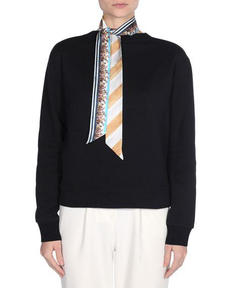 Silk Floral & Stripe Scarf
