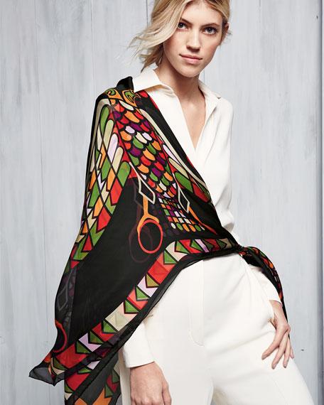 Egyptian Wings Square Silk Chiffon Shawl, Multicolor